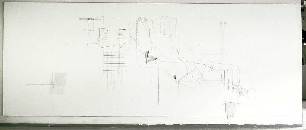 six jours, wall drawing in thread, 3x5m,  2011
